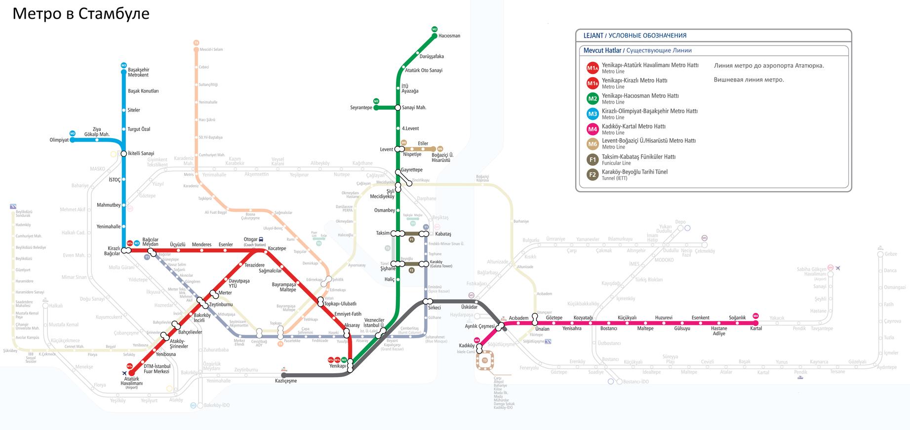 Схемы метро в стамбуле